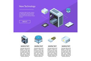 Vector isometric electronic devices website page template illustration