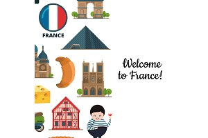 Vector cartoon France sights and objects background