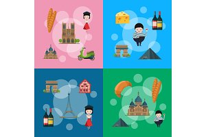 Vector cartoon France sights illustration