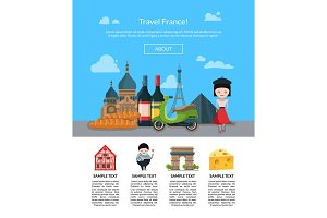 Vector cartoon France sights page illustration