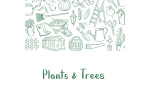 Vector gardening doodle icons background with place for text illustration