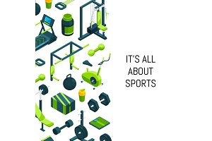 Vector isometric gym background
