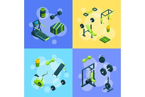 Vector isometric gym objects concept illustration