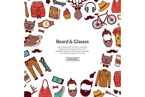 Vector hipster doodle icons background with place for text illustration