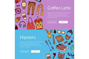 Vector hipster doodle icons horizontal banners illustration