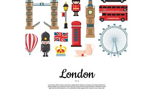 Vector cartoon London sights with place for text illustration