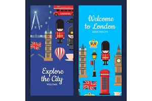 Vector cartoon London sights banners illustration