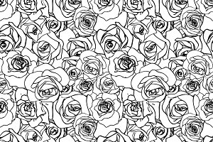 Black outline rosebuds on white