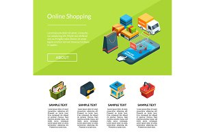 Vector isometric online shopping icons website landing page template illustration