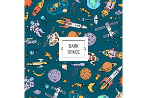 Vector hand drawn space elements background with place for text illustration