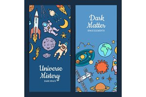 Vector hand drawn space elements web banners illustration