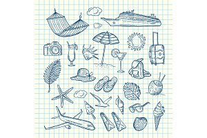 Vector hand drawn summer travel elements
