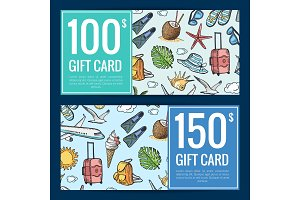 Vector hand drawn summer travel discount or gift card templates illustration
