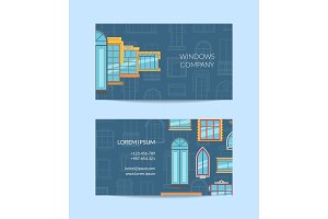 Vector window flat icons business card