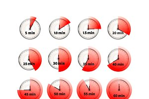 Glossy clock faces timers