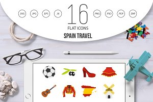 Spain travel set flat icons