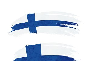 Brush stroke with Finland flag