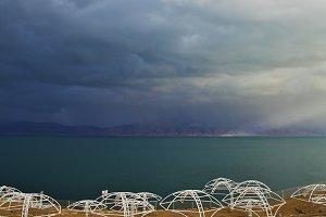 The beach canopies