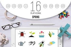 Spring icons set, flat style