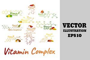 Vitamin Complex Labels + Food Icon.