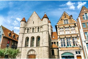 Saint Quentin Church in the Grand Place of Tournai, Wallonia, Belgium