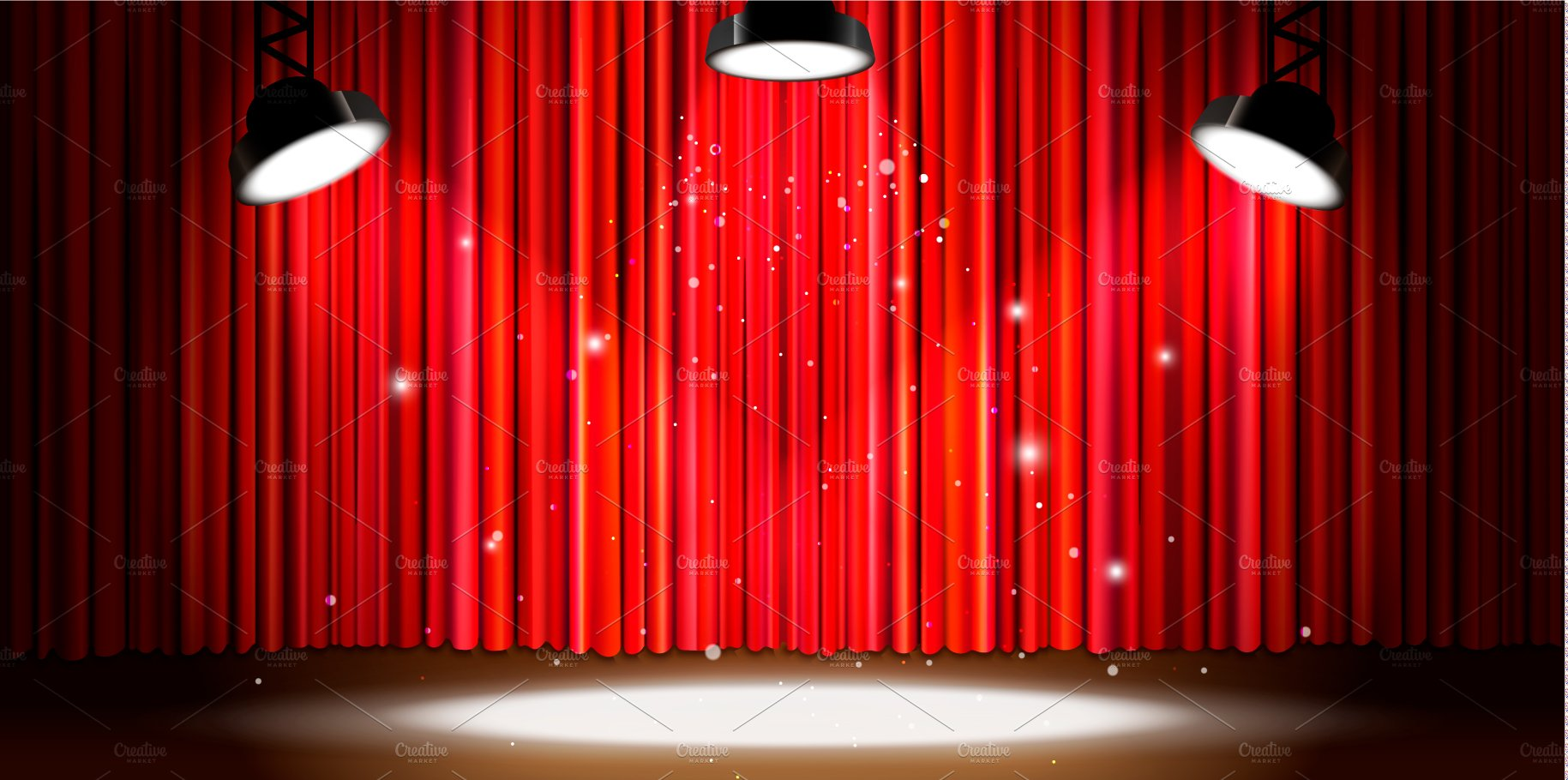 Red curtain with bright spotlight ~ Illustrations ...