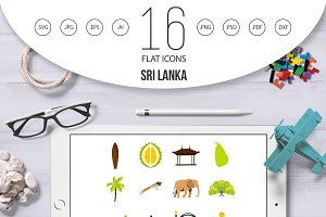 Sri Lanka travel set flat icons