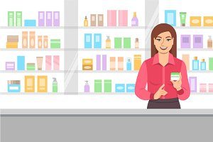 Girl in Cosmetics and Perfumery Shop