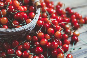 Fresh ripe cherry on the table