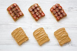 Top view, toasts with peanut butter
