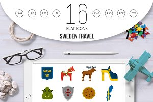 Sweden travel set flat icons