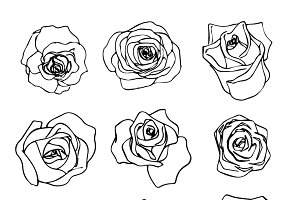 Beautiful outline rosebuds icons