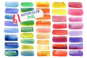 Bright watercolor PNG banner - 61