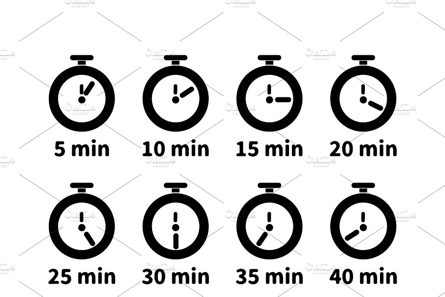 Set of minute timer icons
