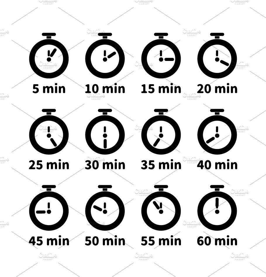 set of minute timer icons icons creative market