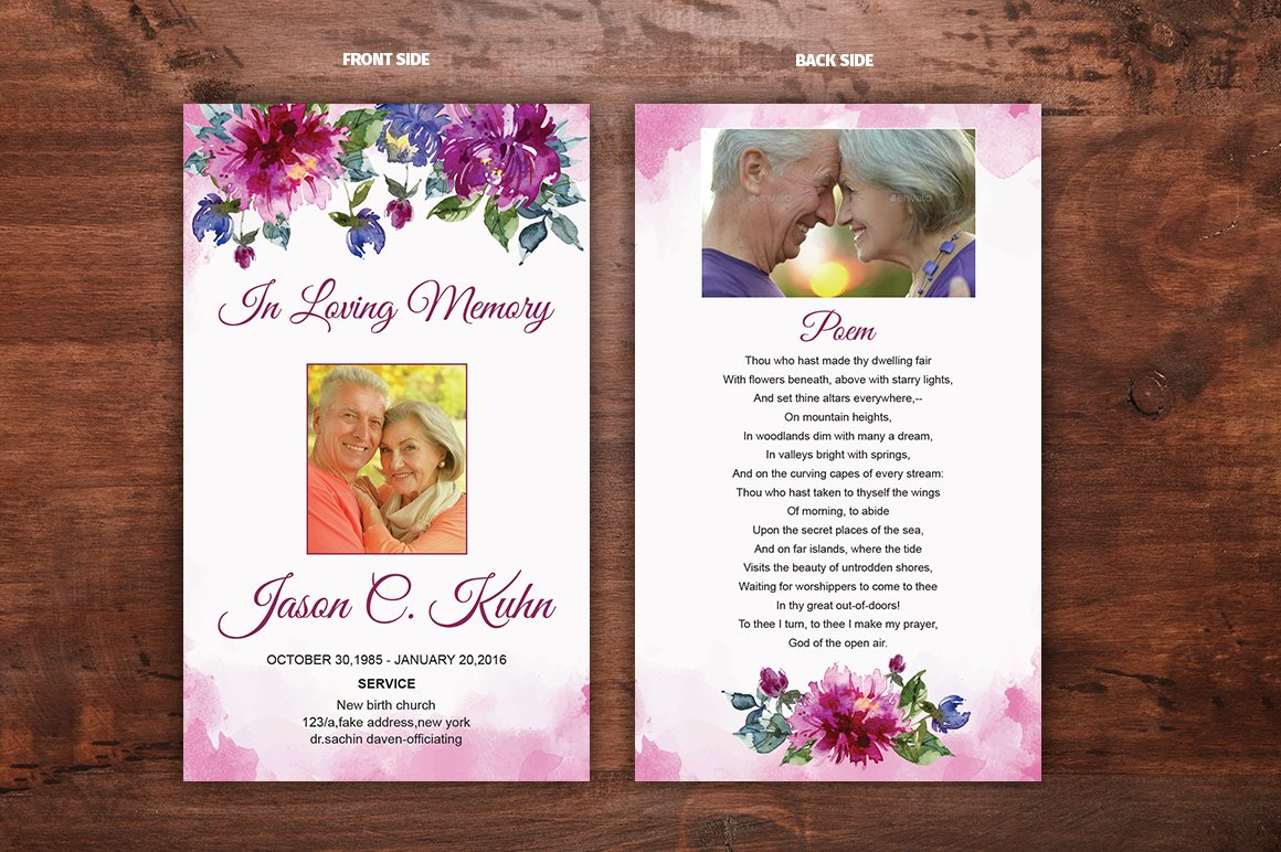 Funeral Prayer Card Template ~ Card Templates ~ Creative ...