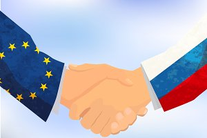Russia and Europe handshake