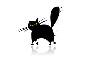 Big black cat silhouette with green eyes