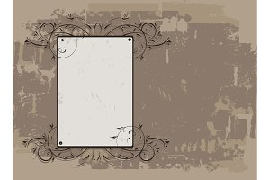 Vintage frame on grunge background, place for your text