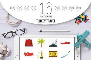 Turkey travel icons set in flat