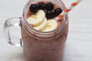 Glass jar with smoothie made