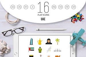 UAE travel set flat icons
