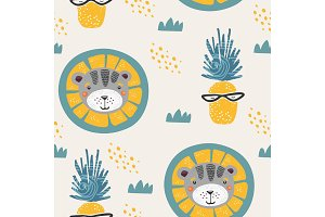 Seamless pattern in scandinavian style with lion and pineapple. For textile,print,wrapper or fabric.