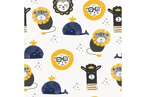 Seamless pattern in scandinavian style with lion ,llama and whale. For textile,print,wrapper or fabric