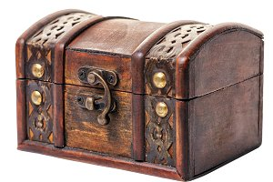 closed vintage wooden chest treasure