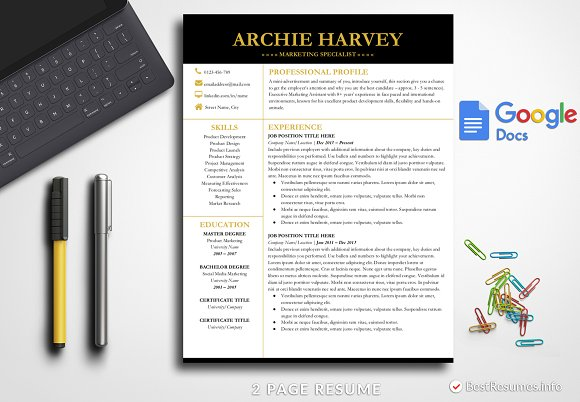 Modern Resume Template Google Docs