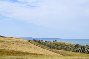 The landscape at the Cossack village - a museum Ataman. the village and the sea view from the heights of the hill.