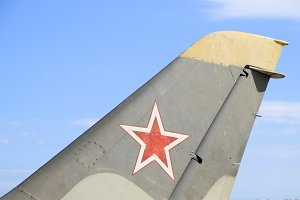 The helm of the fighter. Star on the tail of the plane.