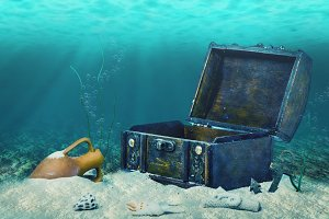 treasure chest submerged underwater