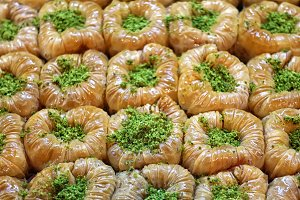 Baklava decorated pistachios